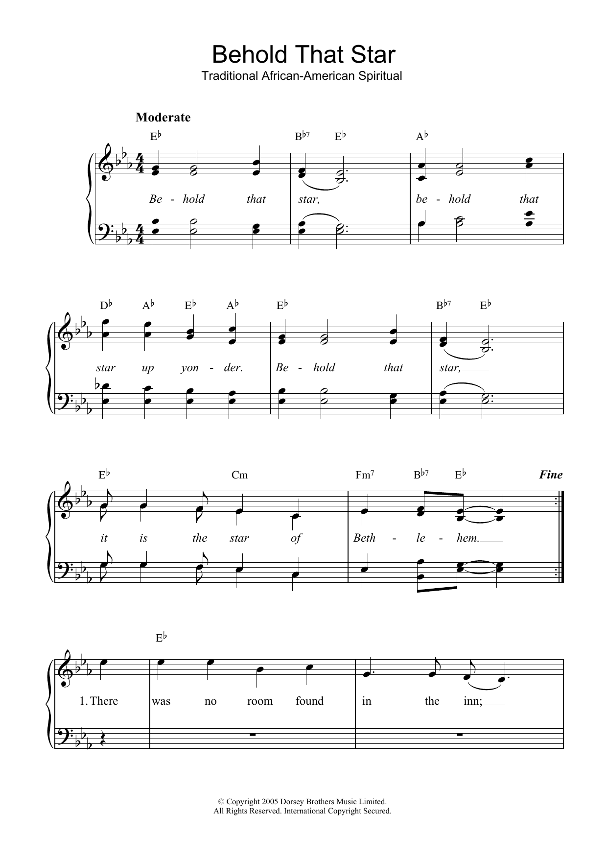 Behold That Star (Piano & Vocal)