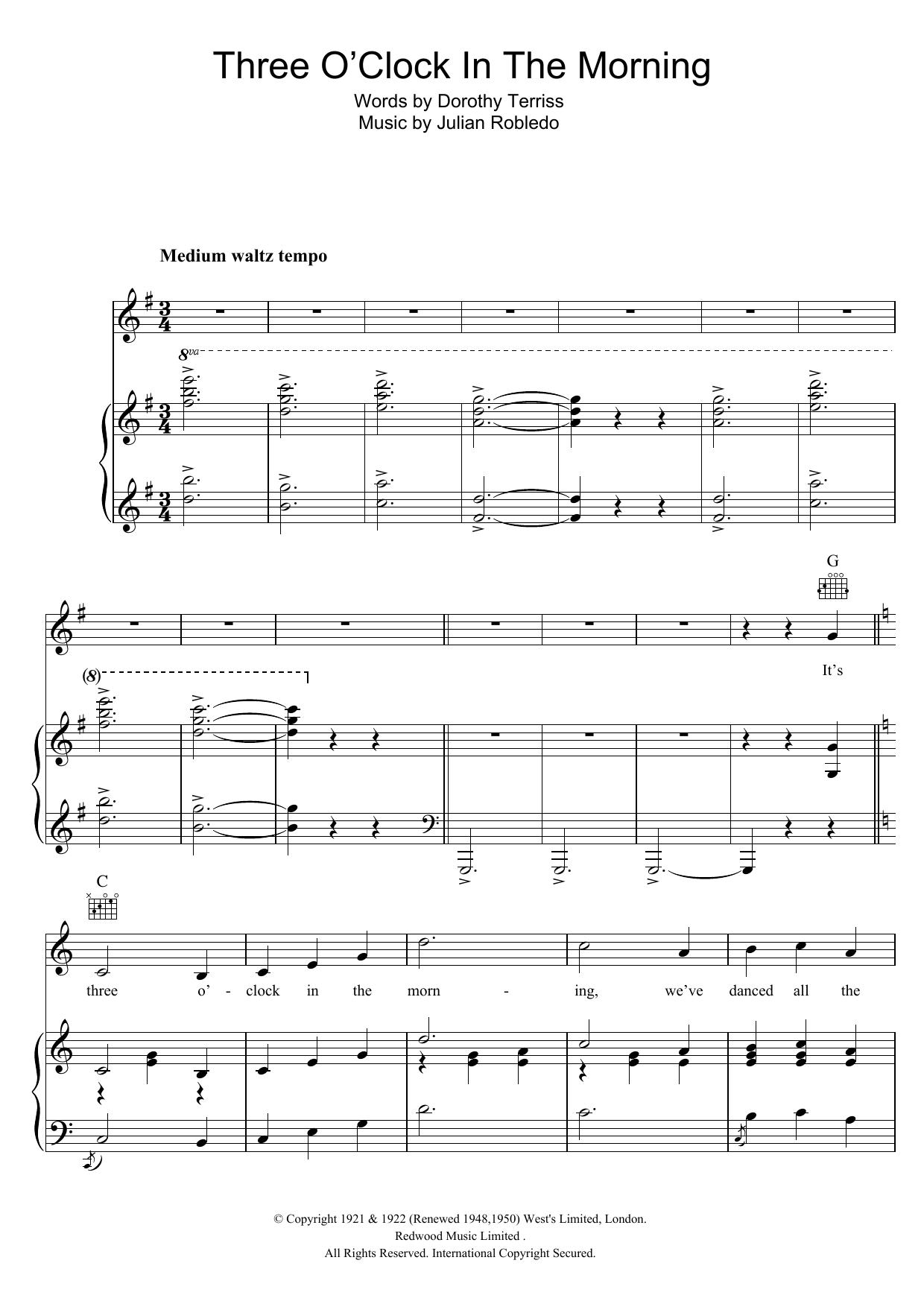 Three O'Clock In The Morning Sheet Music
