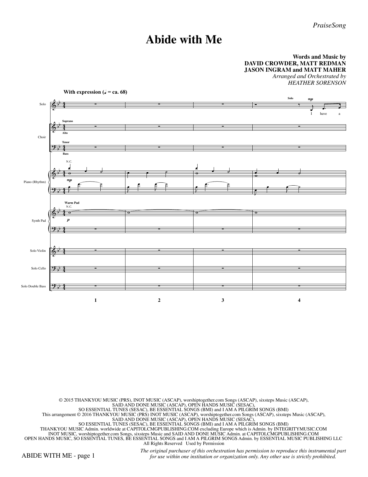 Abide with Me (COMPLETE) sheet music for orchestra/band by Heather Sorenson, David Crowder, Jason Ingram, Matt Maher and Matt Redman. Score Image Preview.