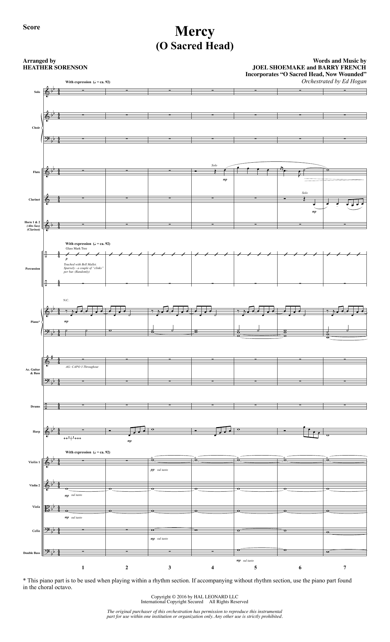 Mercy (O Sacred Head) (COMPLETE) sheet music for orchestra/band by Heather Sorenson and Joel Shoemake. Score Image Preview.