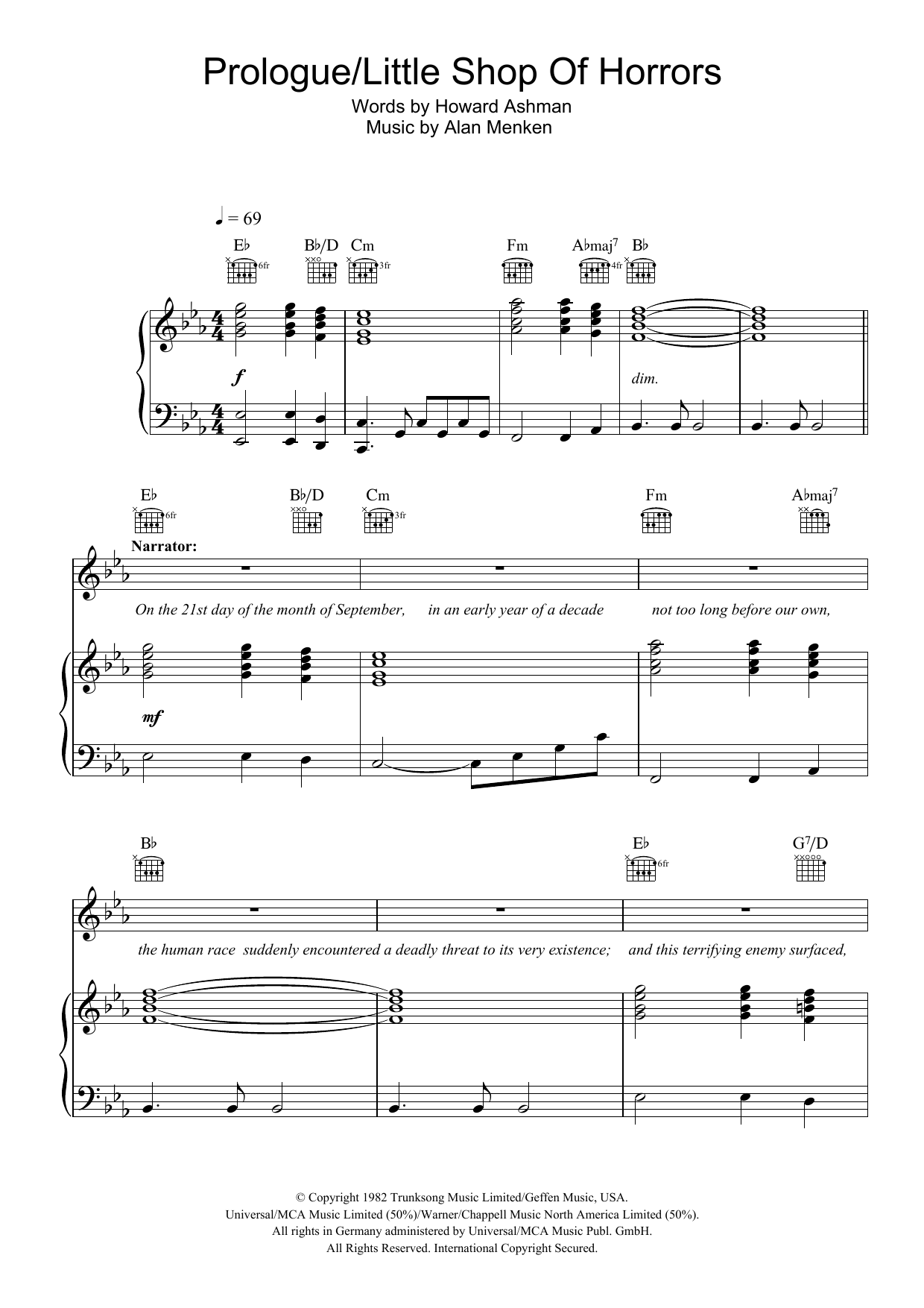 Prologue (from Little Shop Of Horrors) (Piano, Vocal & Guitar)
