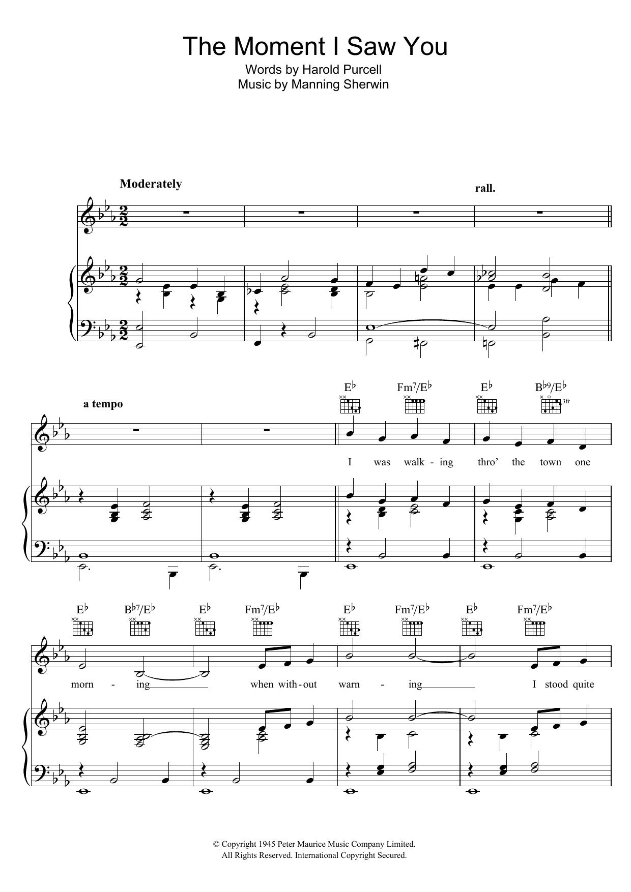 The Moment I Saw You (Piano, Vocal & Guitar)