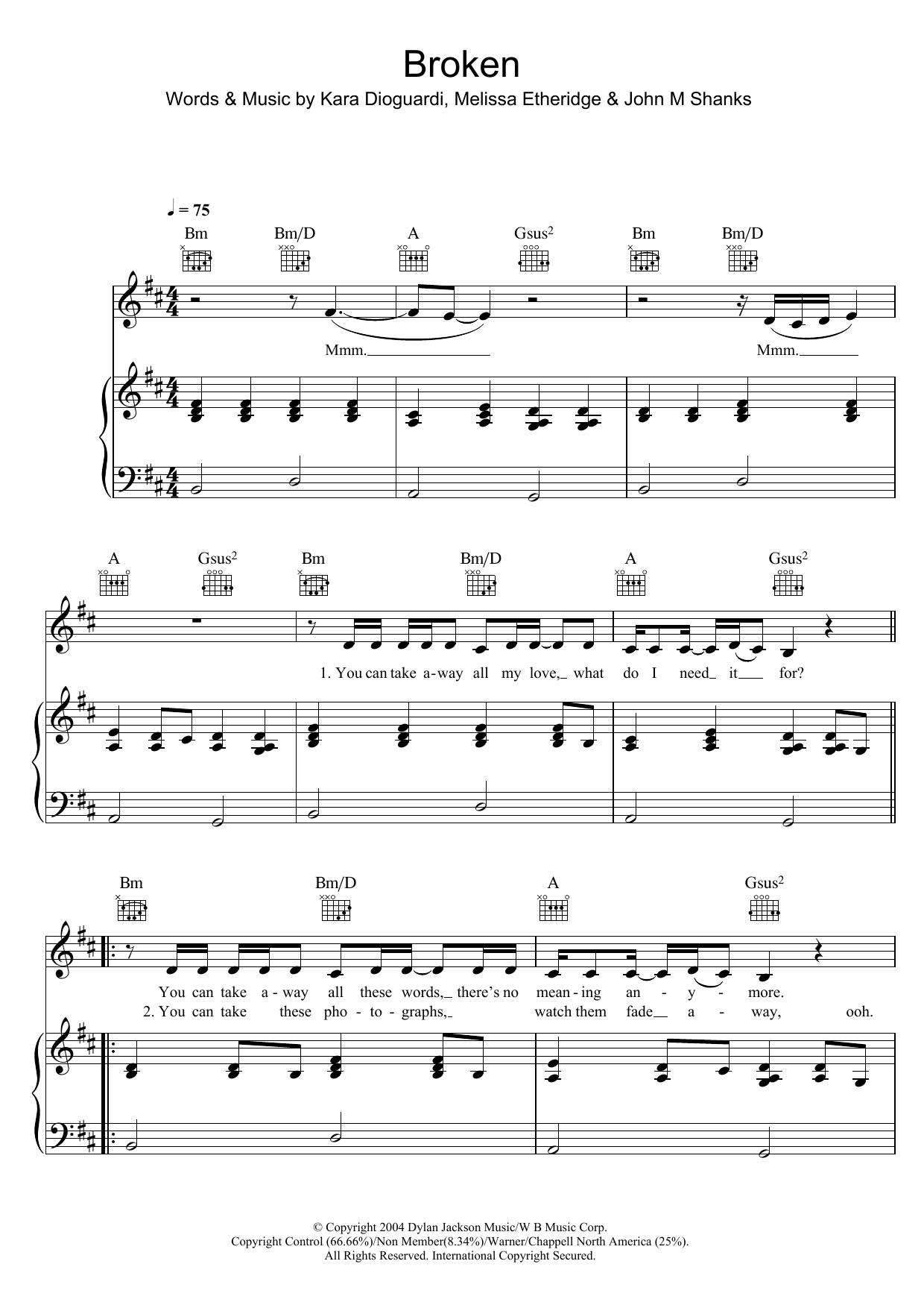 Broken by Leona Lewis Piano, Vocal & Guitar Digital Sheet Music