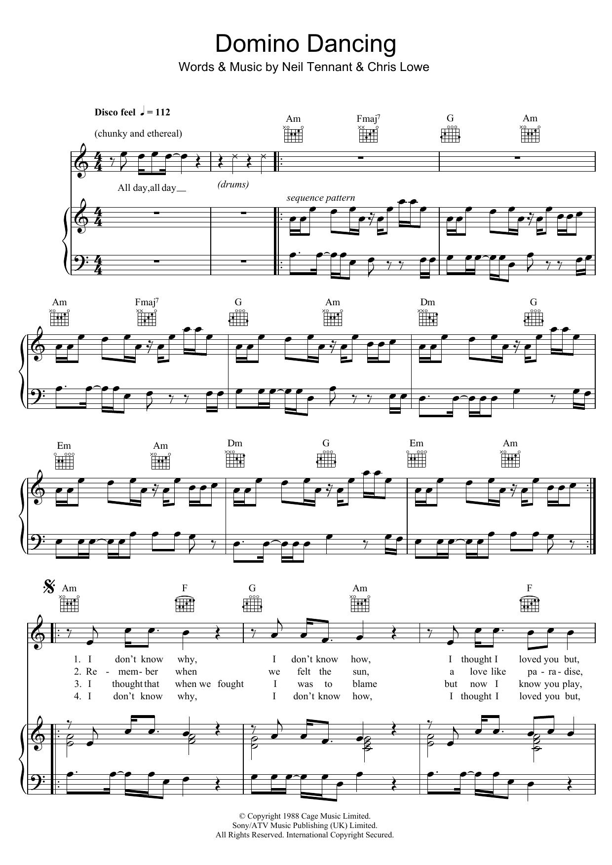 Domino Dancing (Piano, Vocal & Guitar)