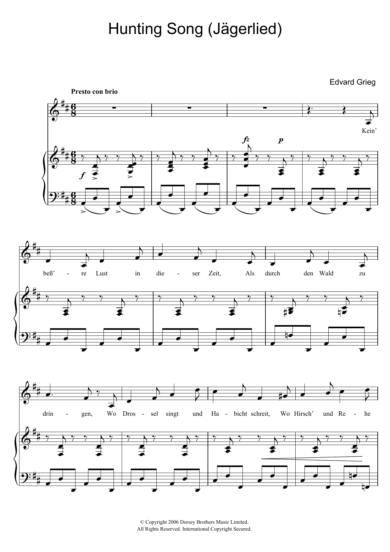 Hunting Song (Jagerlied) Sheet Music