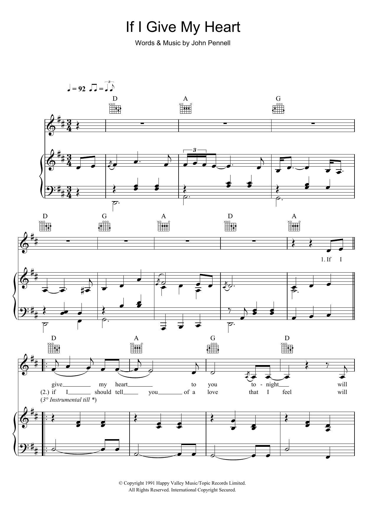 If I Give My Heart (Piano, Vocal & Guitar)
