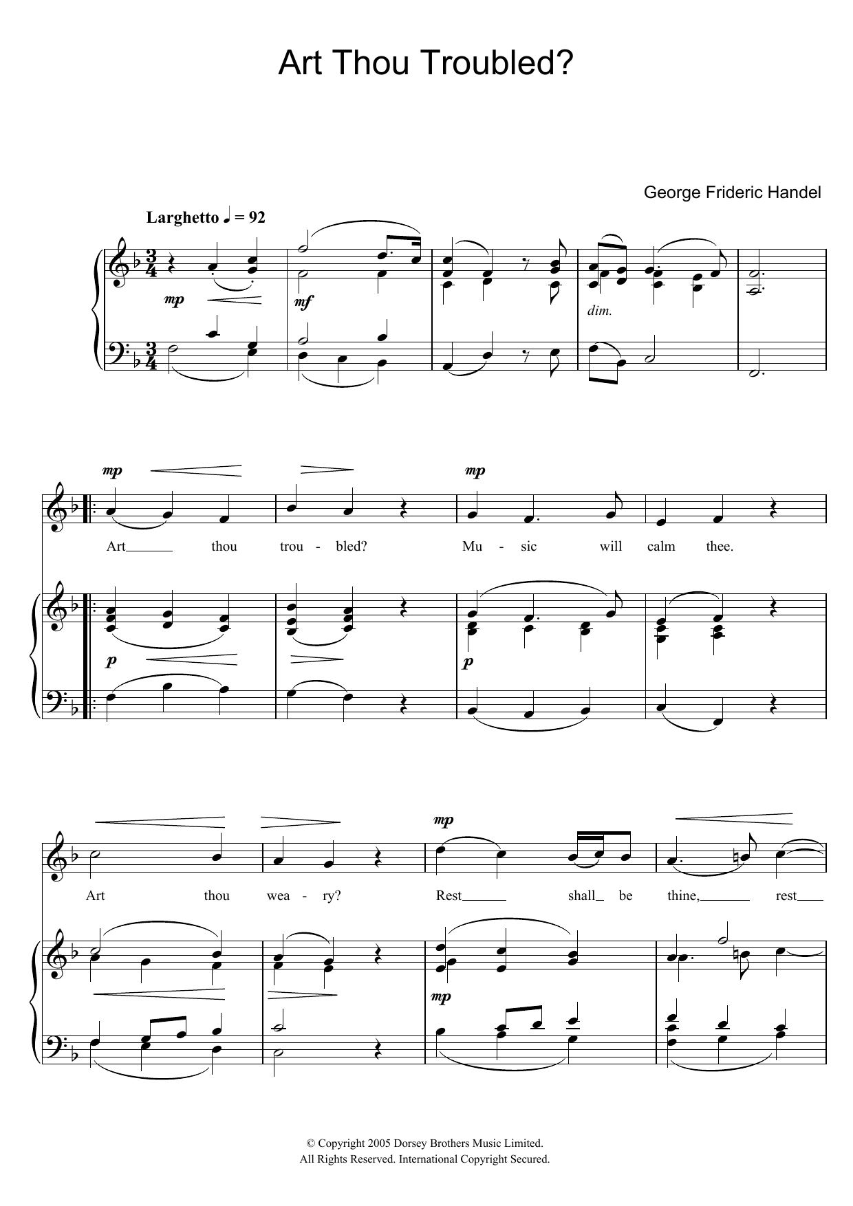 Art Thou Troubled? (from Rodelinda) (Piano & Vocal)