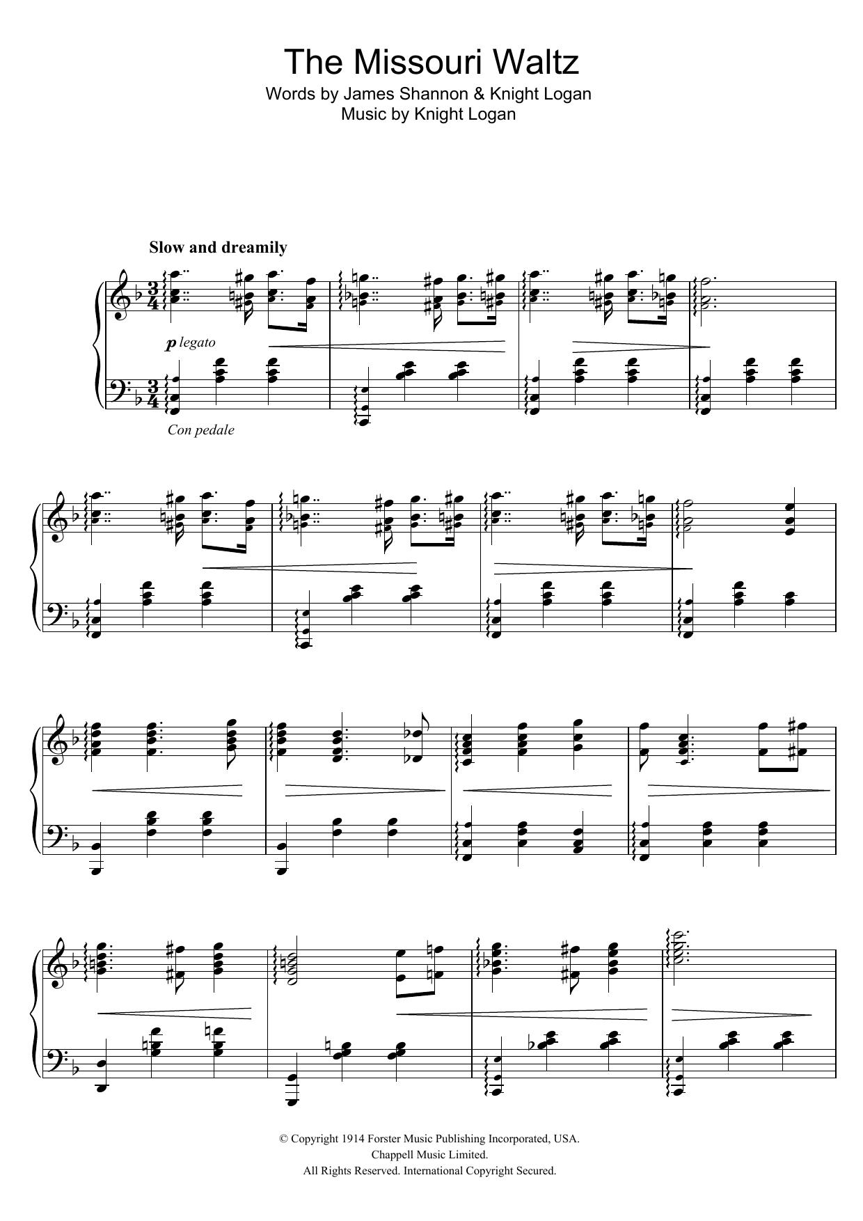 The Missouri Waltz Sheet Music