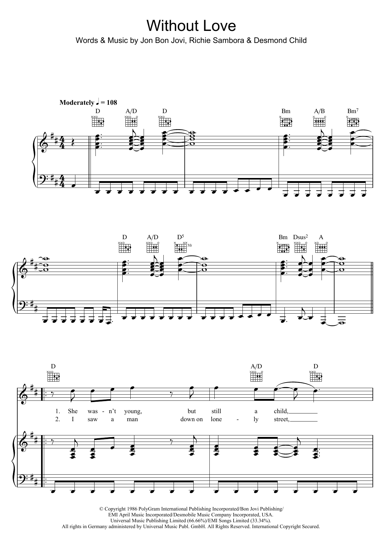 Without Love Sheet Music