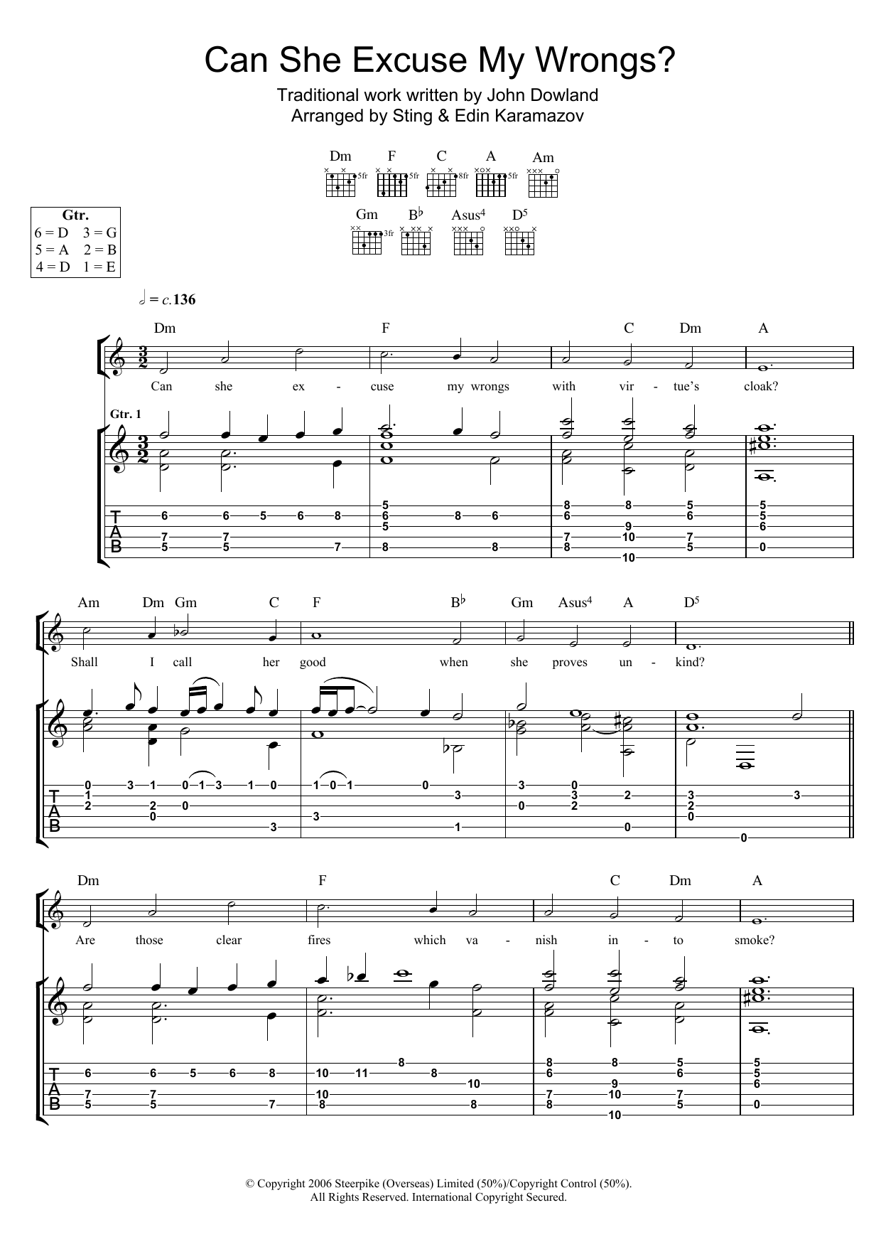 Can She Excuse My Wrongs? (as performed by Sting and Edin Karamazov) (Guitar Tab)
