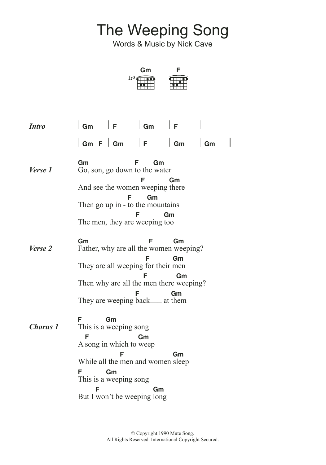The Weeping Song by Nick Cave   Guitar Chords/Lyrics   Guitar ...