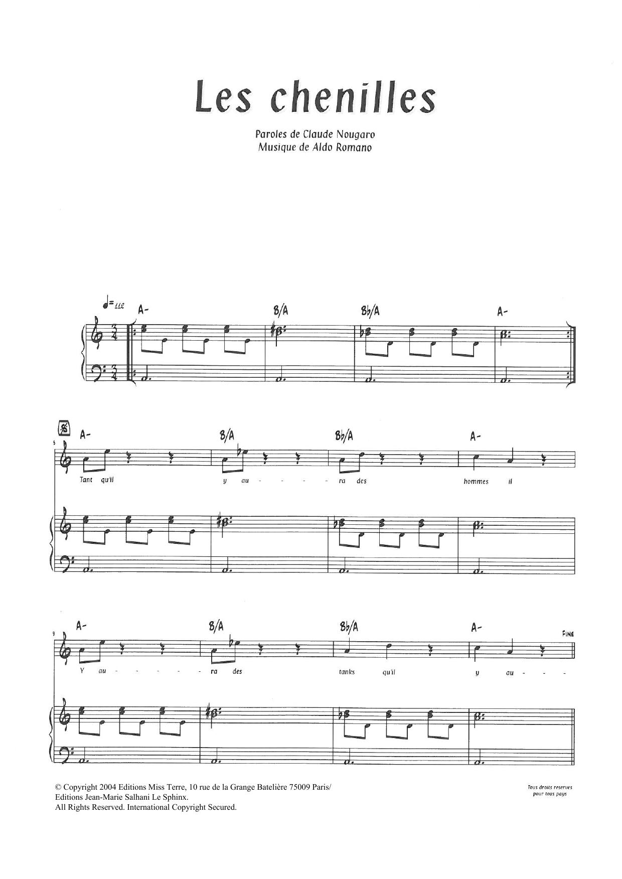 Les Chenilles (Piano & Vocal)