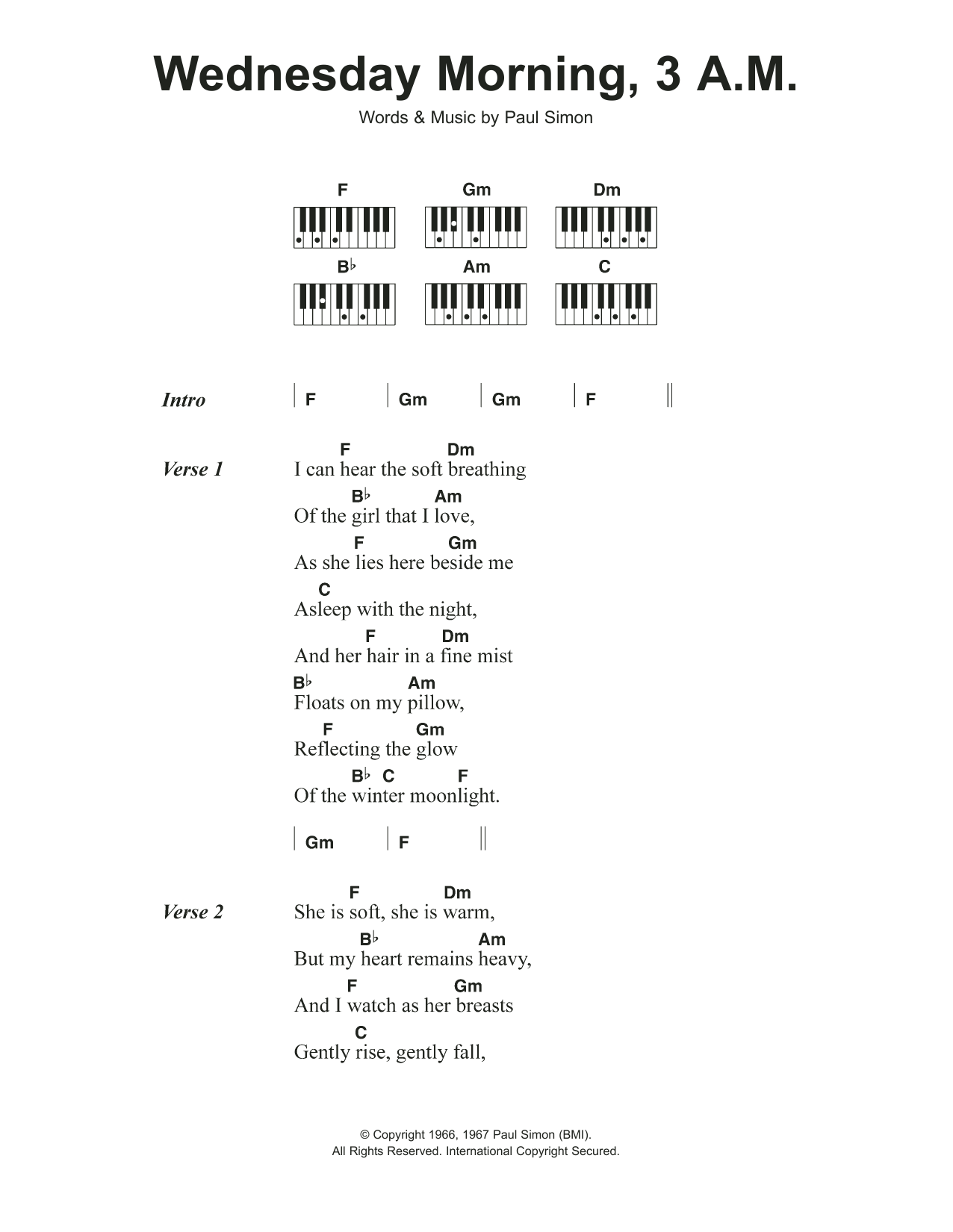 Wednesday Morning, 15 A.M. Sheet Music   Simon & Garfunkel   Piano  Chords/Lyrics