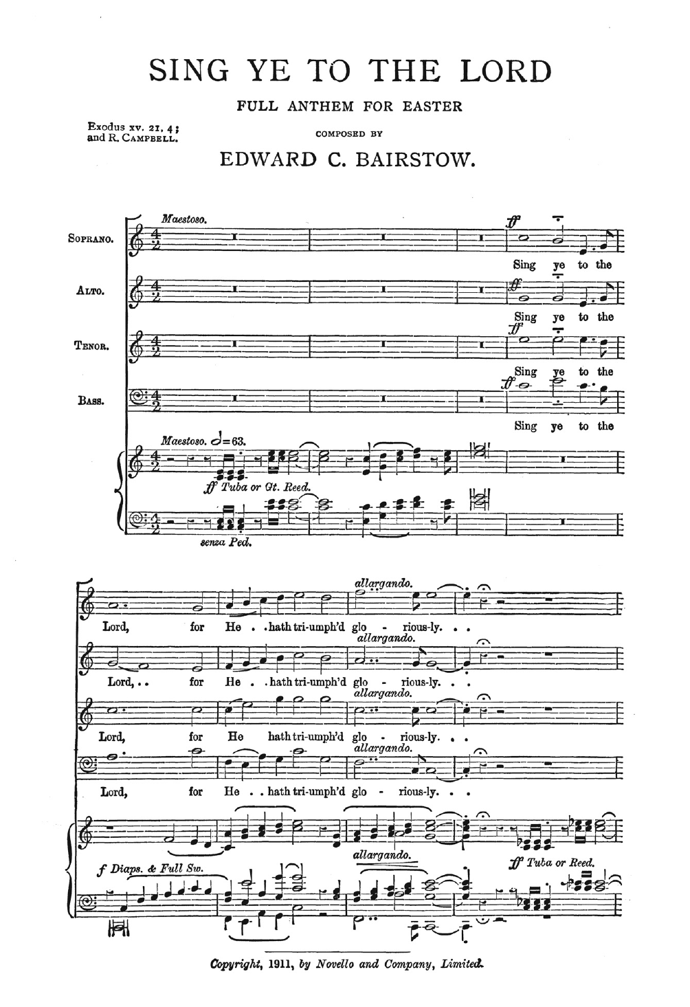 Sing Ye To The Lord Sheet Music
