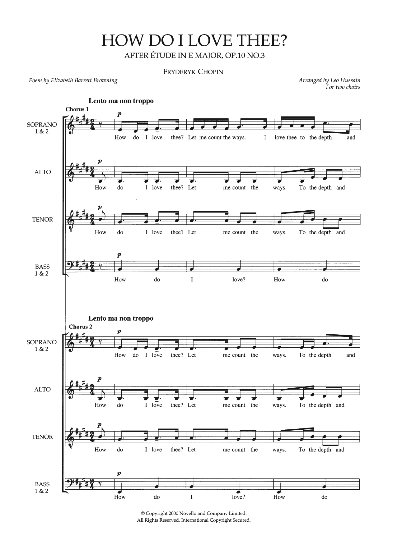 How Do I Love Thee? (arr. Leo Hussain) Sheet Music