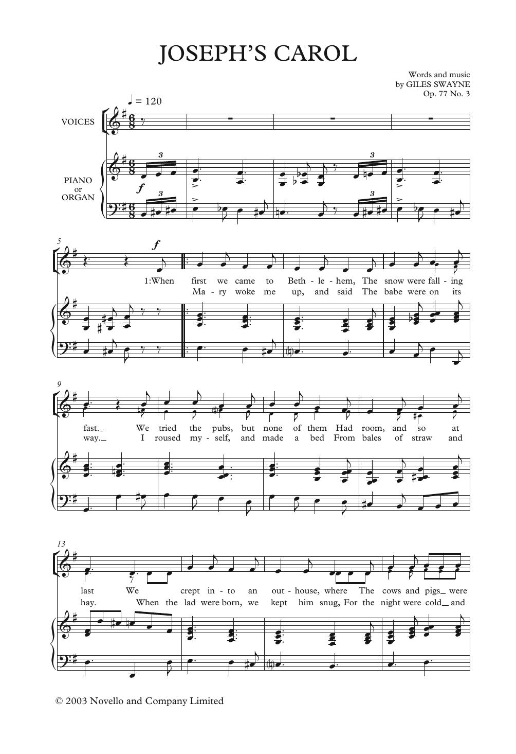 Joseph's Carol Sheet Music