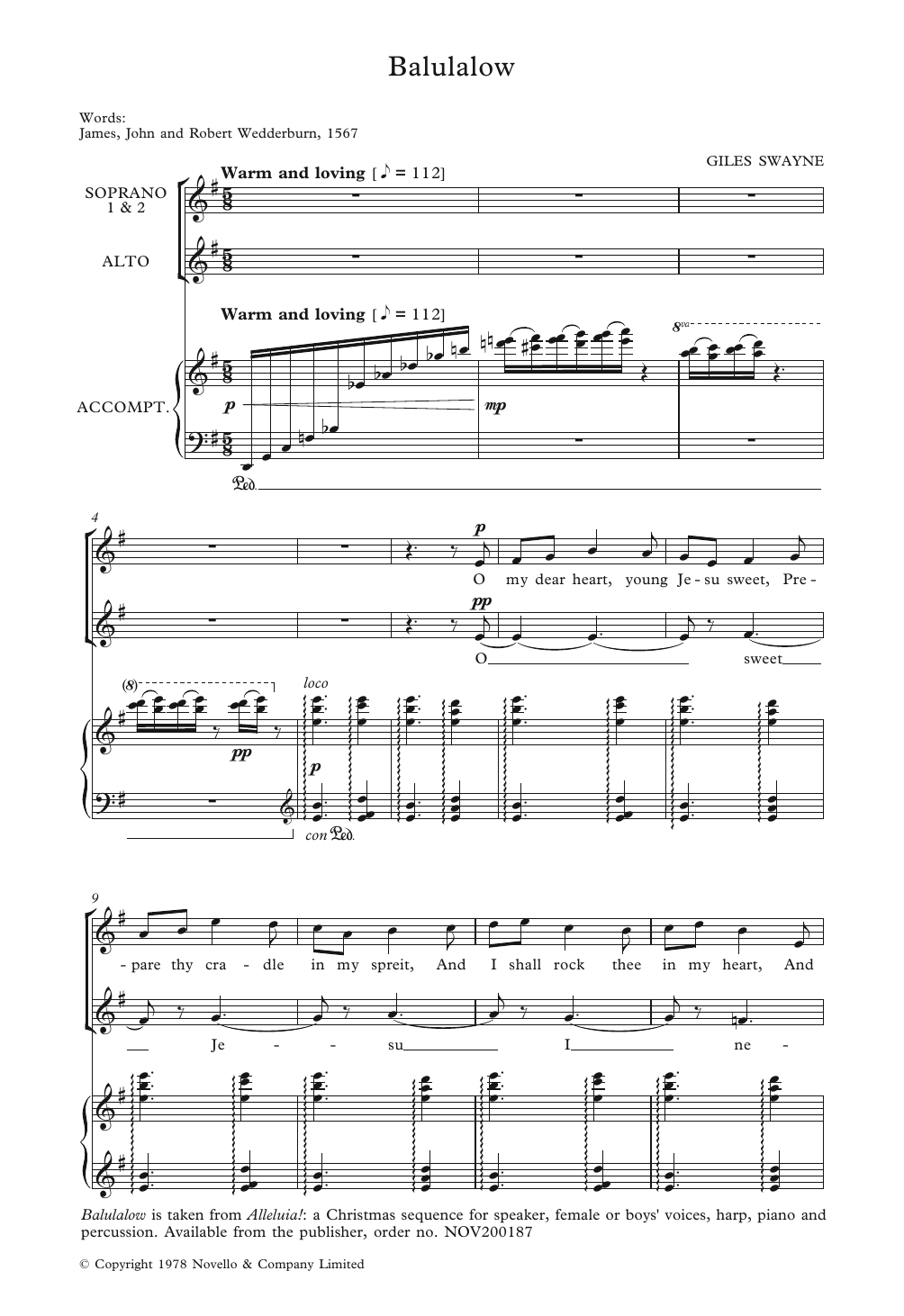 Balulalow Sheet Music