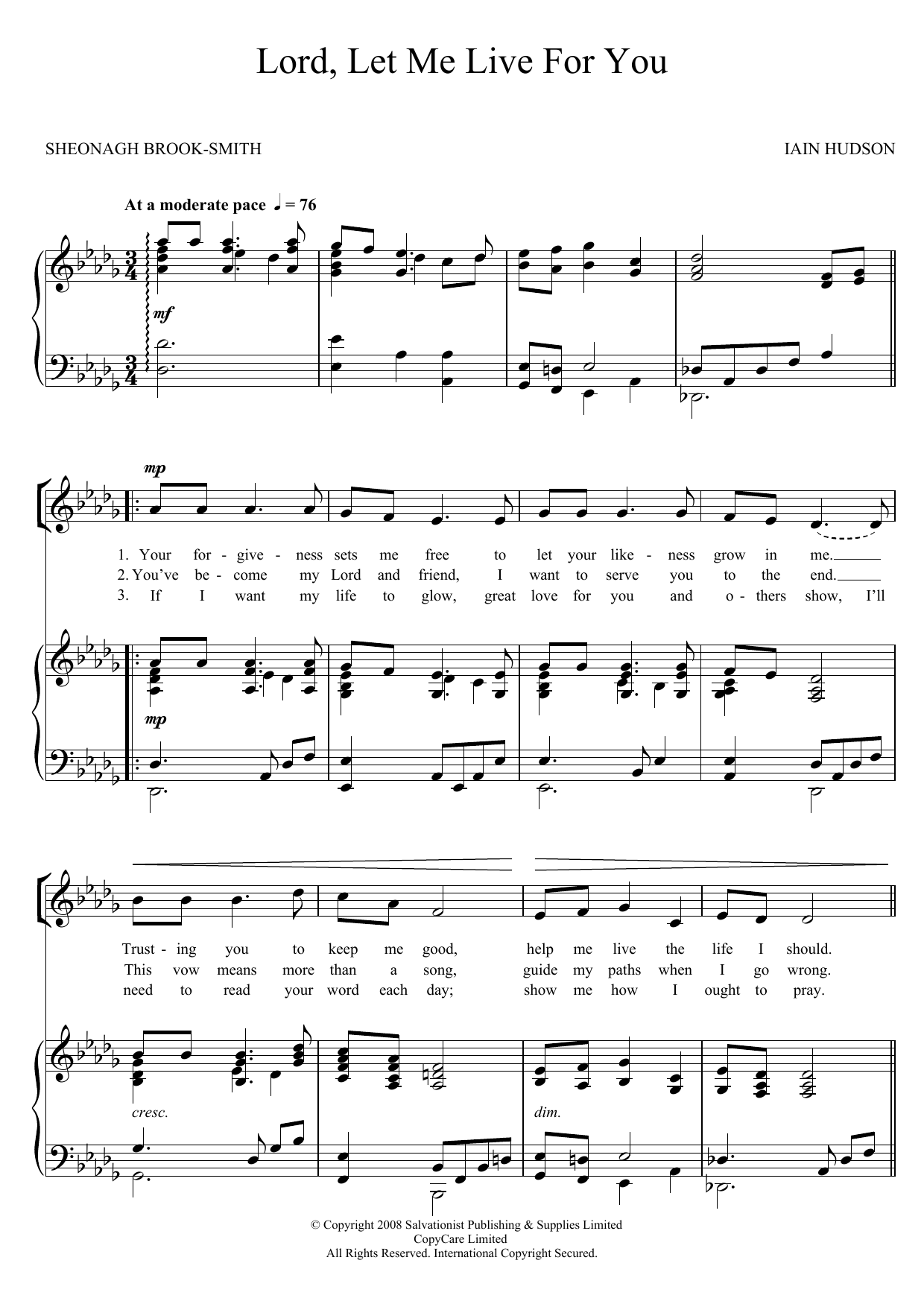 Lord, Let Me Live For You Sheet Music