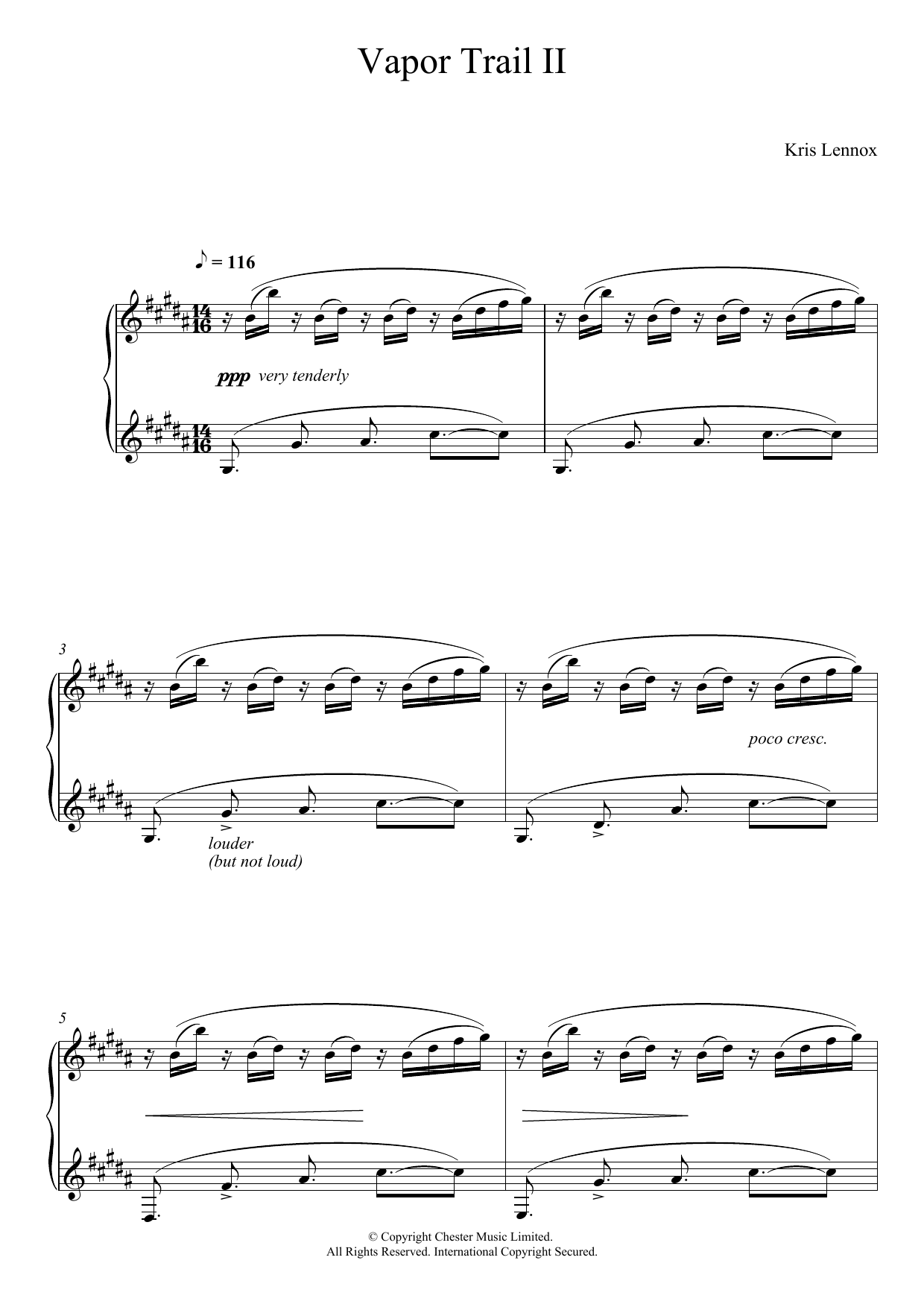 Vapor Trail II Sheet Music