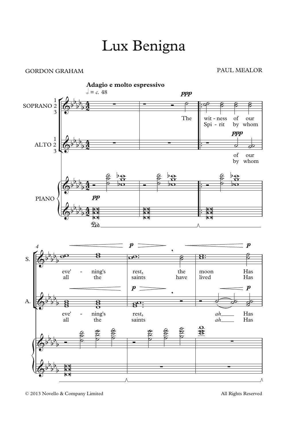 Lux Benigna Sheet Music