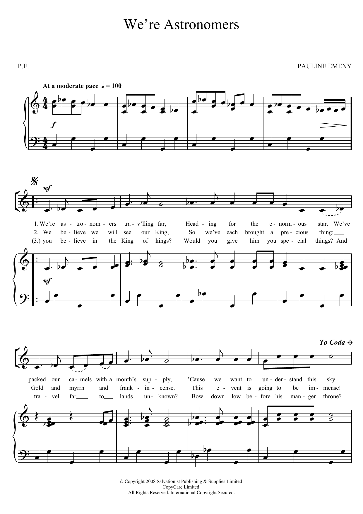 We're Astronomers Sheet Music