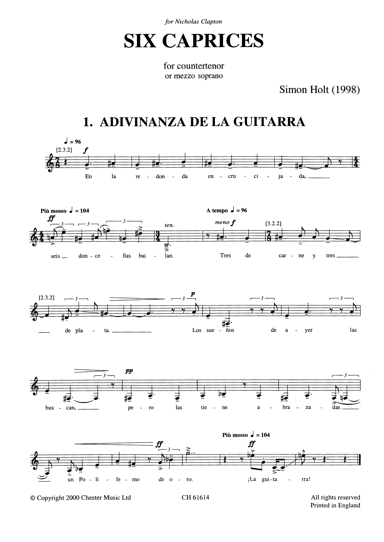 Six Caprices Sheet Music