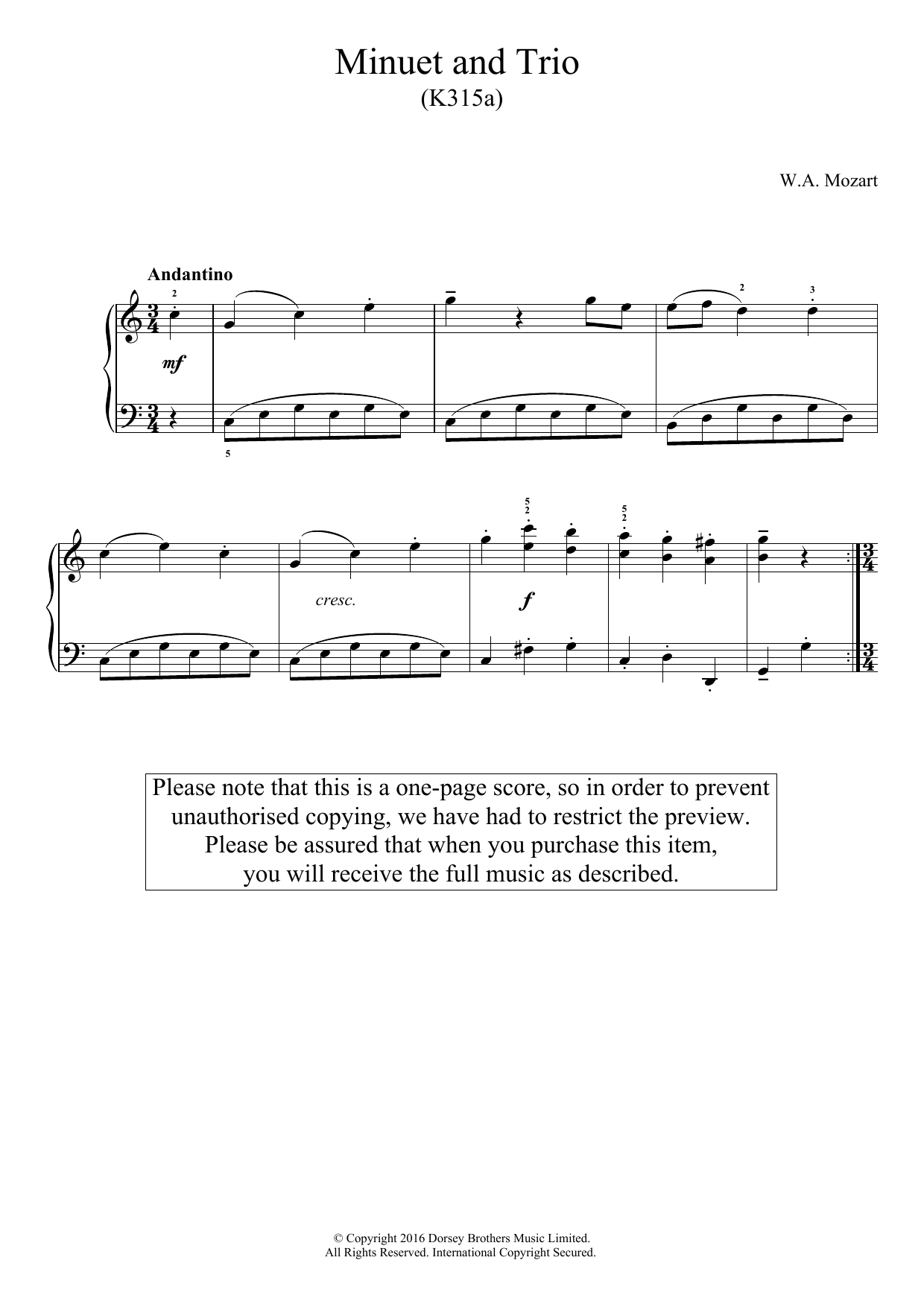 Minuet And Trio K.315a Sheet Music