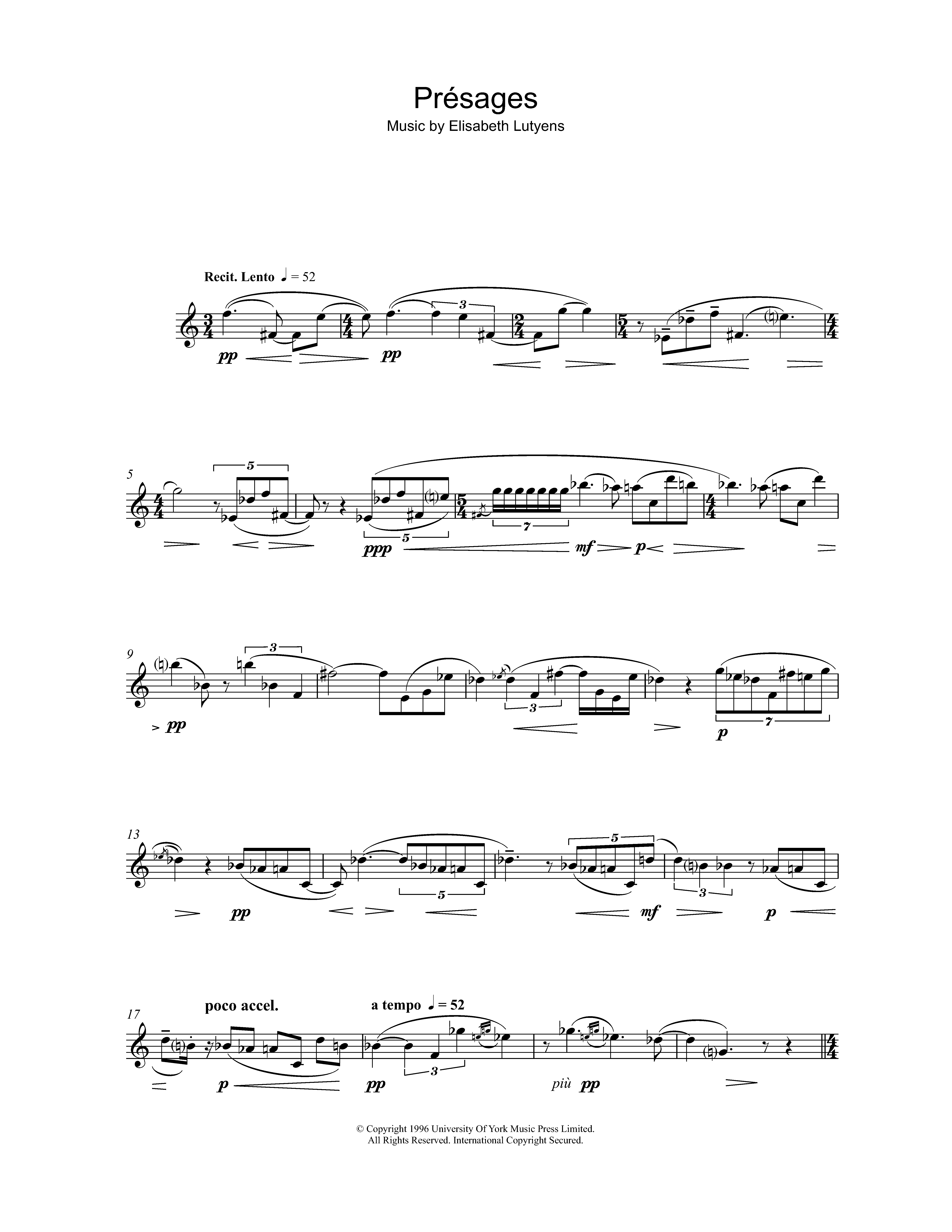 Présages Sheet Music