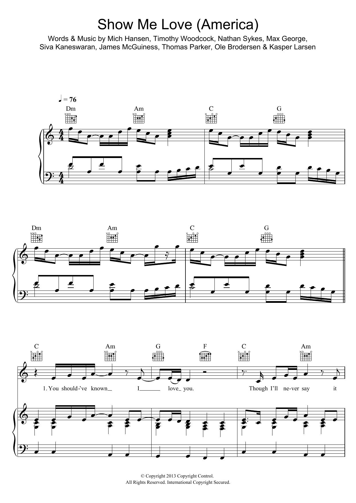 Show Me Love (America) (Piano, Vocal & Guitar)