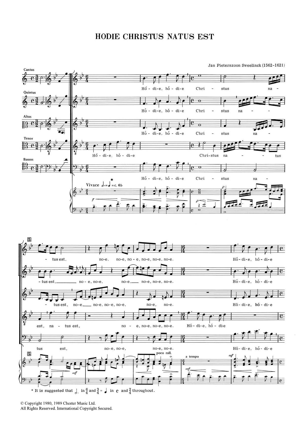 Hodie Chrustus Natus Est Sheet Music