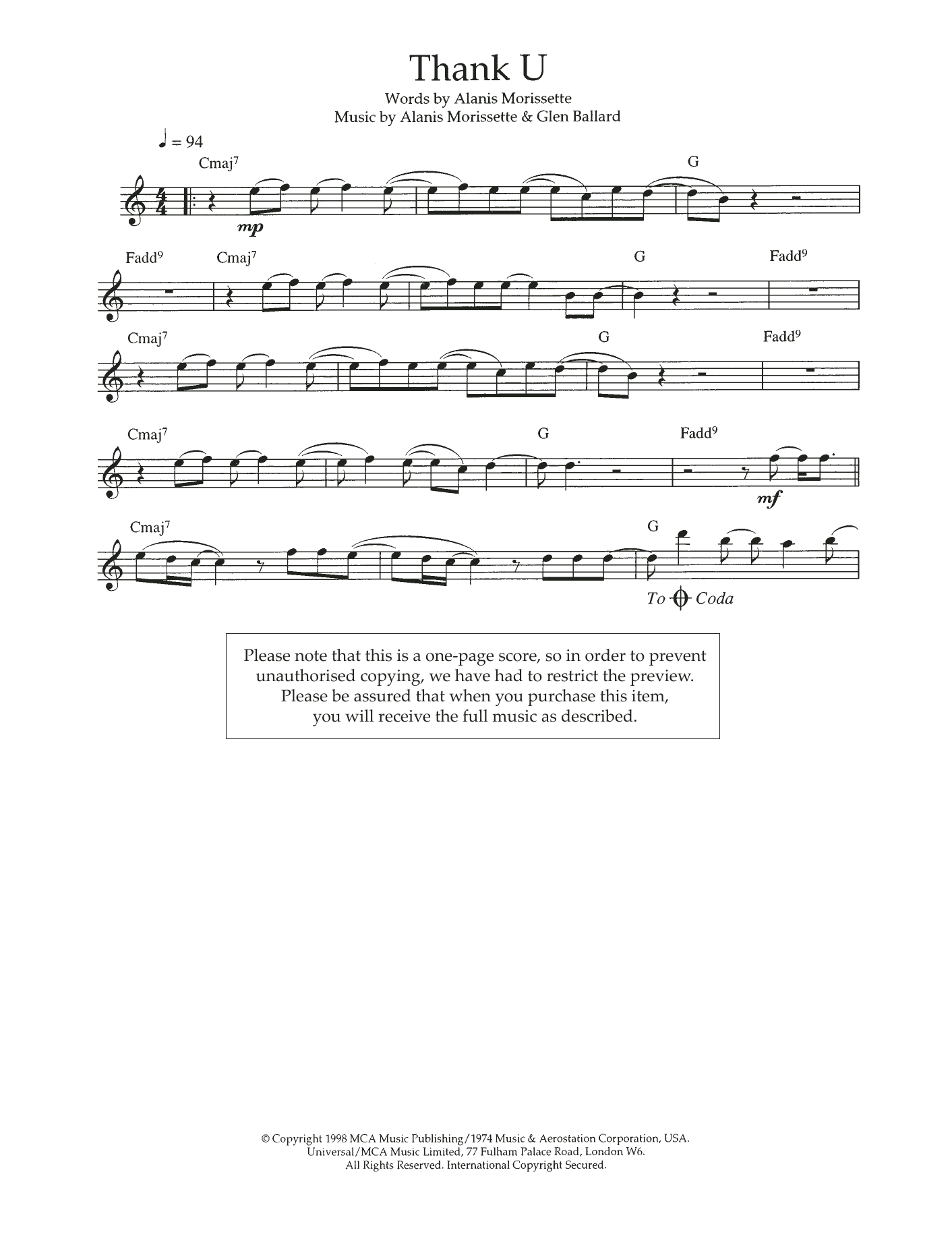Thank U Sheet Music