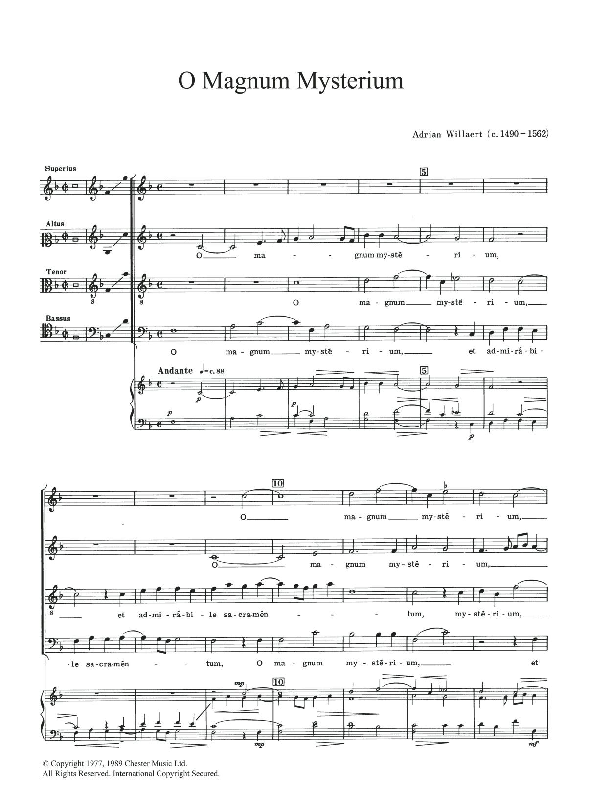 O Magnum Mysterium Sheet Music