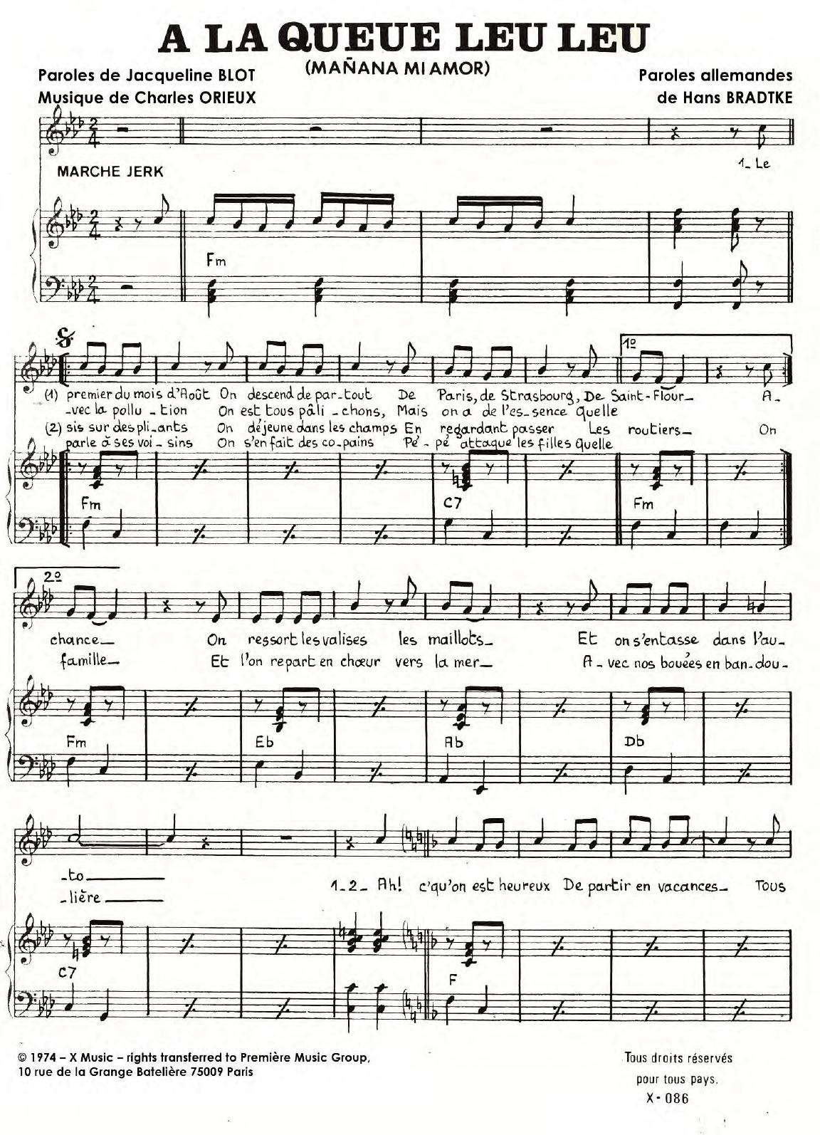 A La Queue Leu Leu Sheet Music