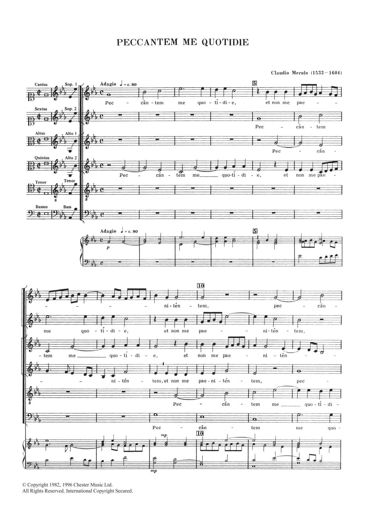 Peccantem Me Quotidie Sheet Music