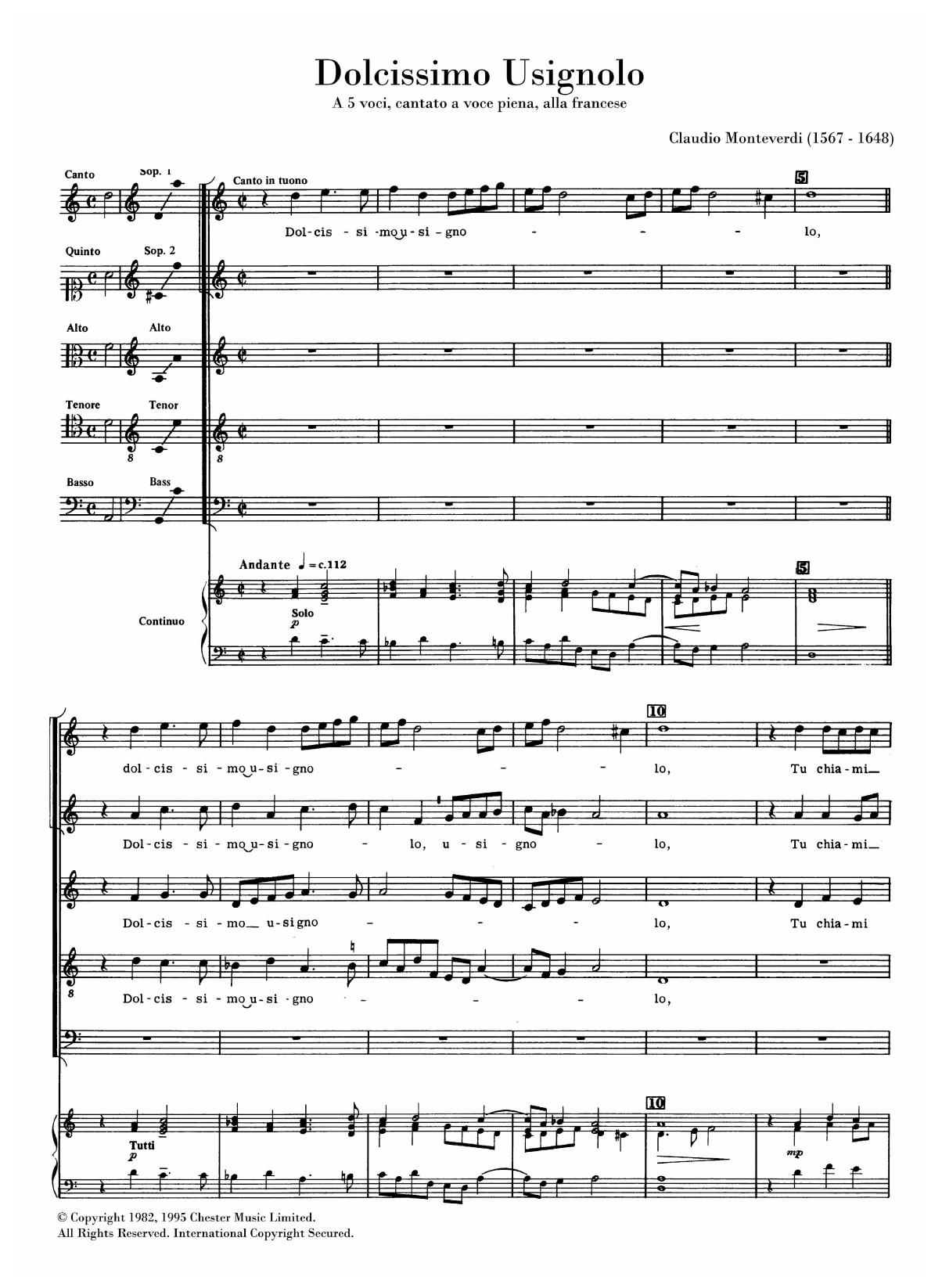 Dolcissimo Usignolo (arr. Anthony Petti) Sheet Music