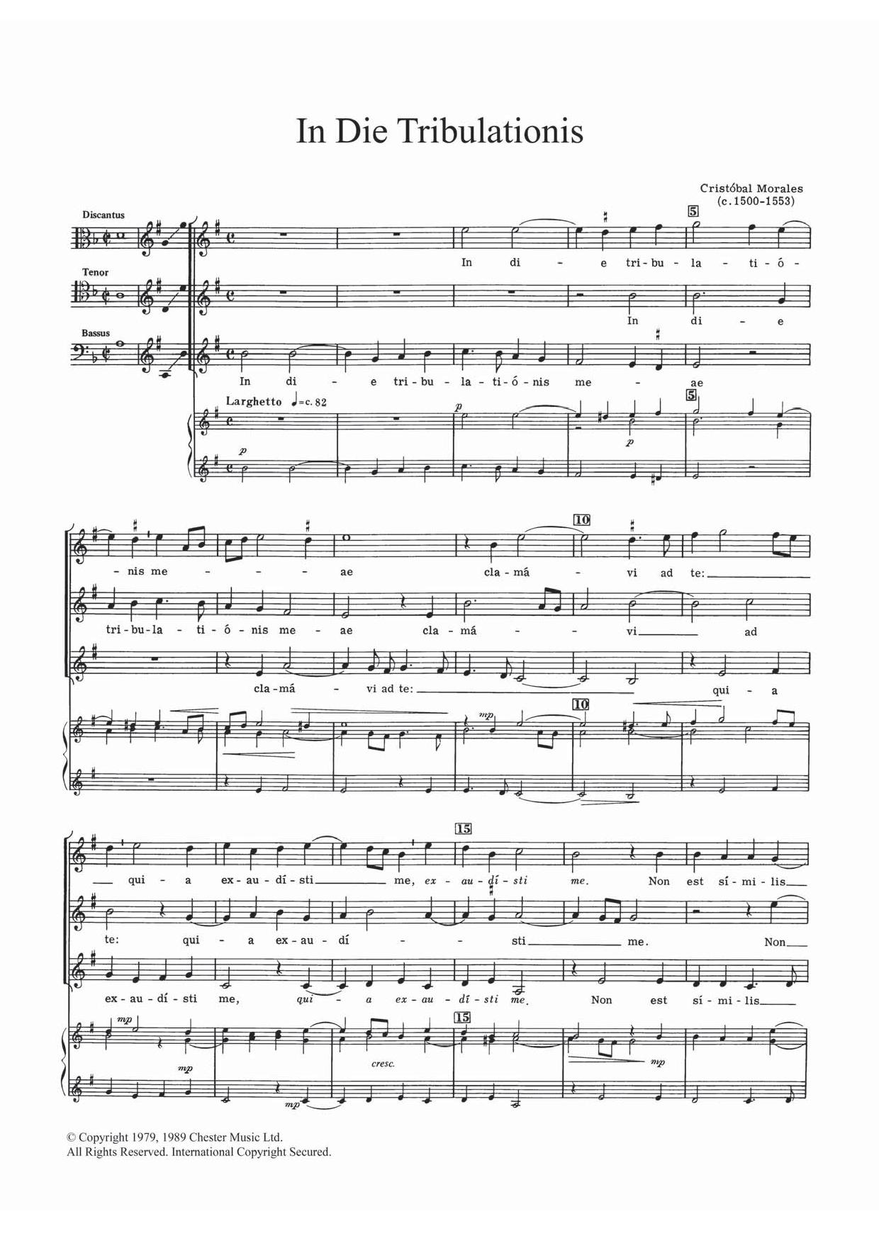 In Die Tribulationis Sheet Music