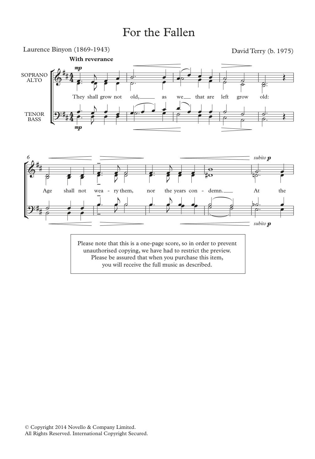 For The Fallen Sheet Music
