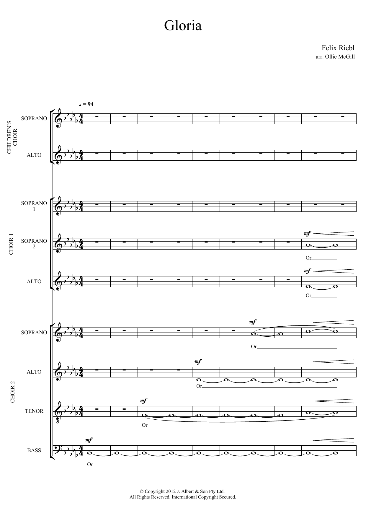 Gloria (arr. Ollie McGill) Sheet Music