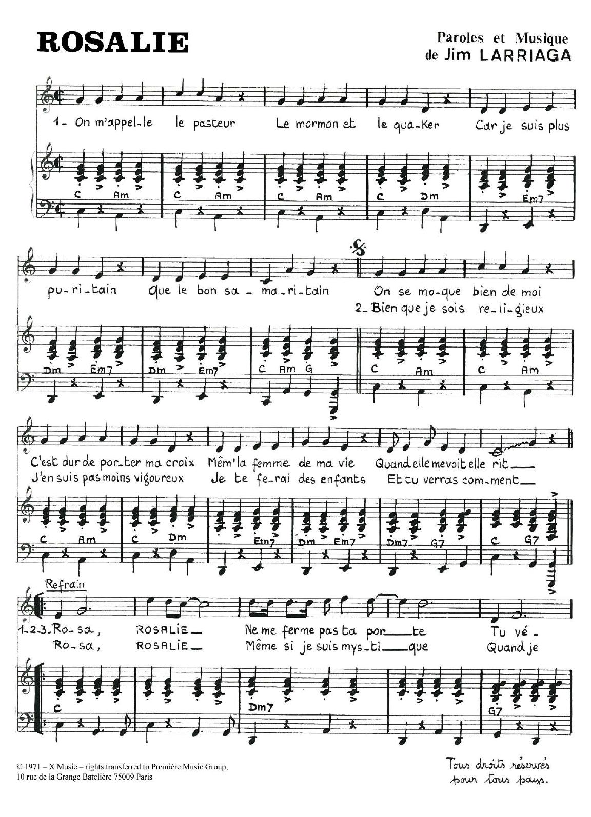 Rosalie Sheet Music