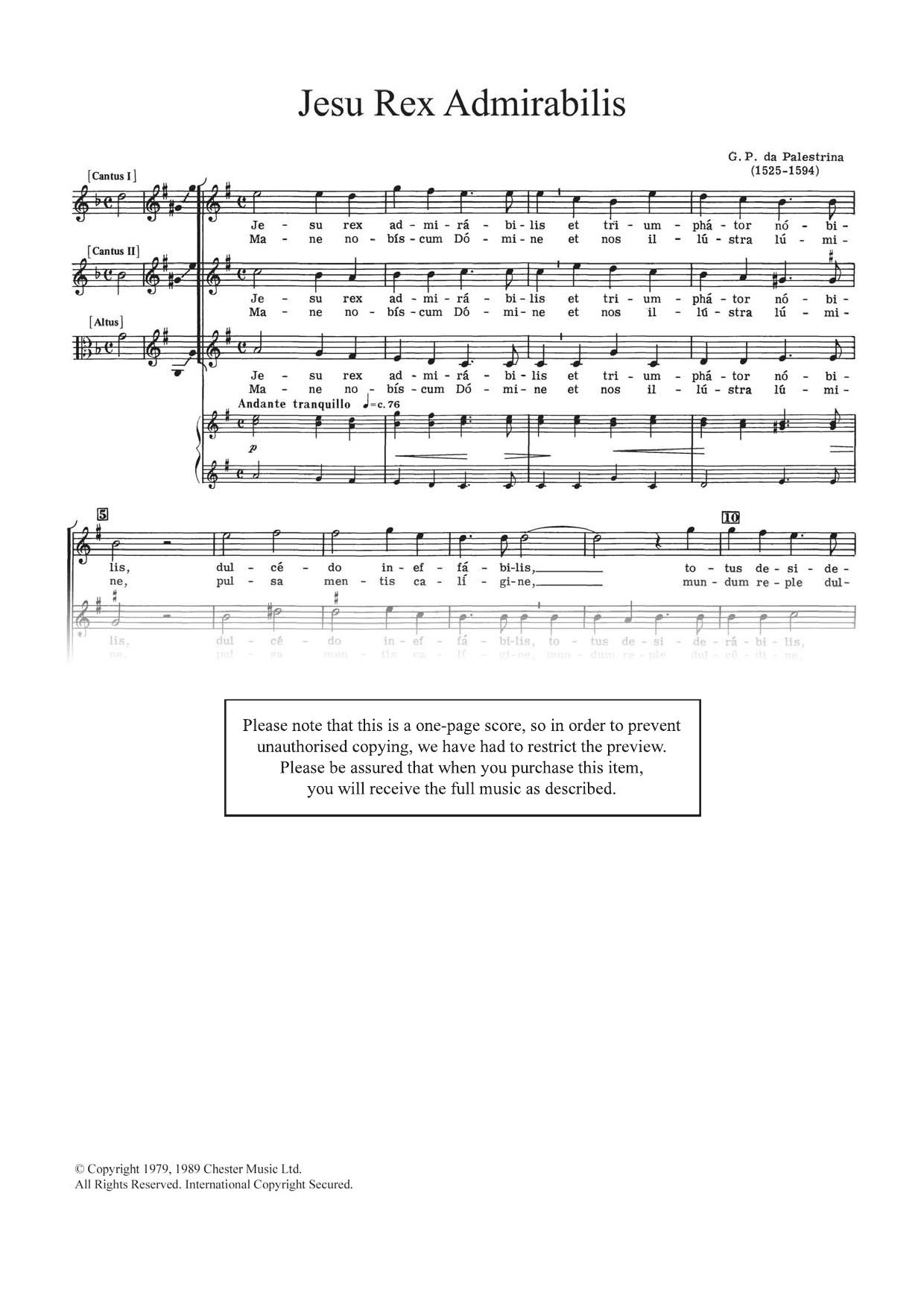 Jesu Rex Admirabilis Sheet Music