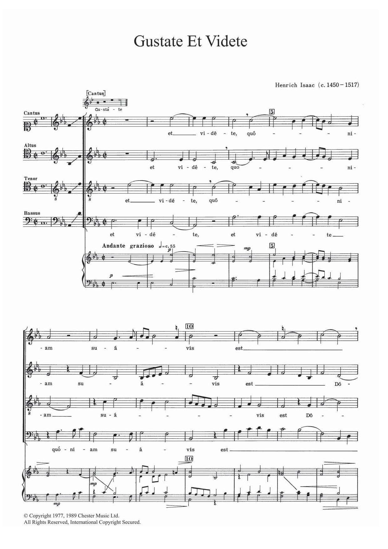 Gustate Et Videte Sheet Music