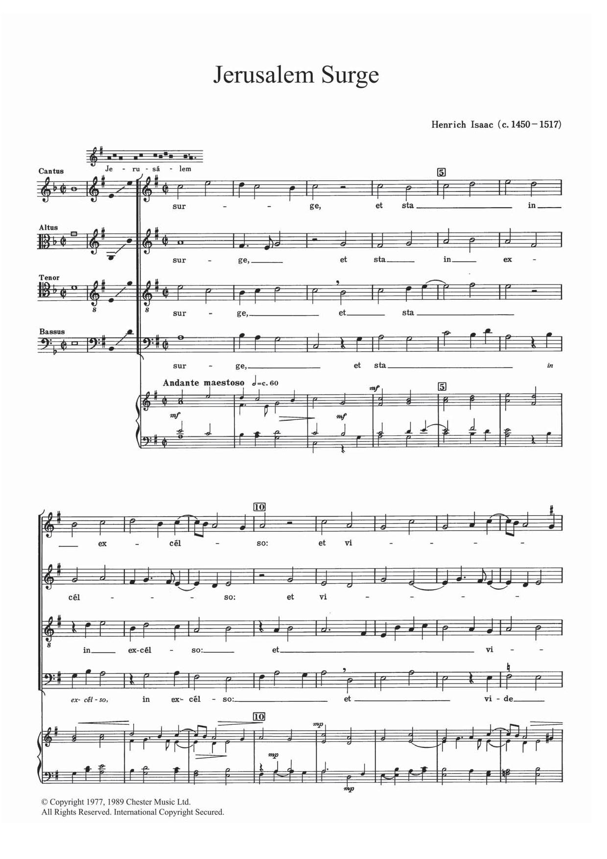 Jerusalem Surge Sheet Music