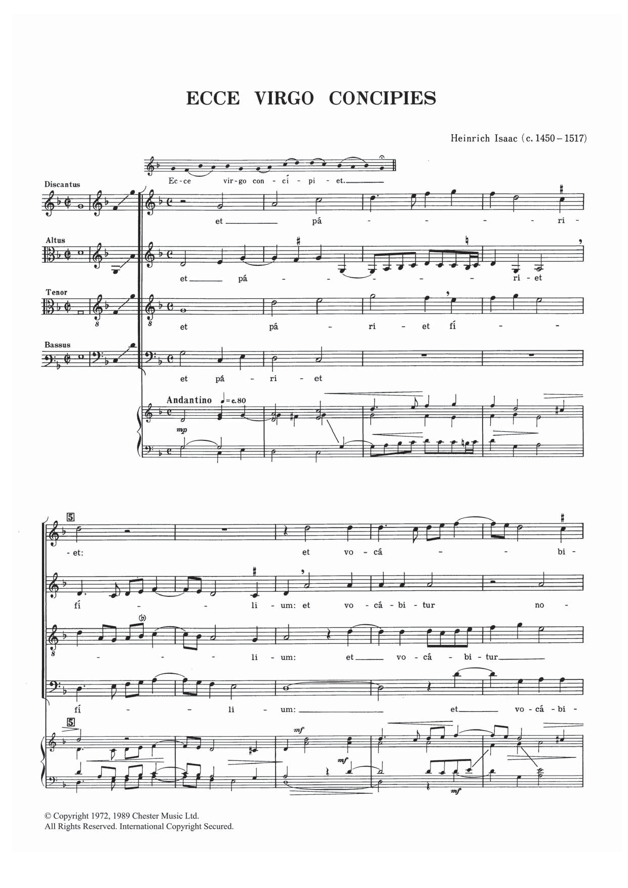 Ecce Virgo Concipies Sheet Music