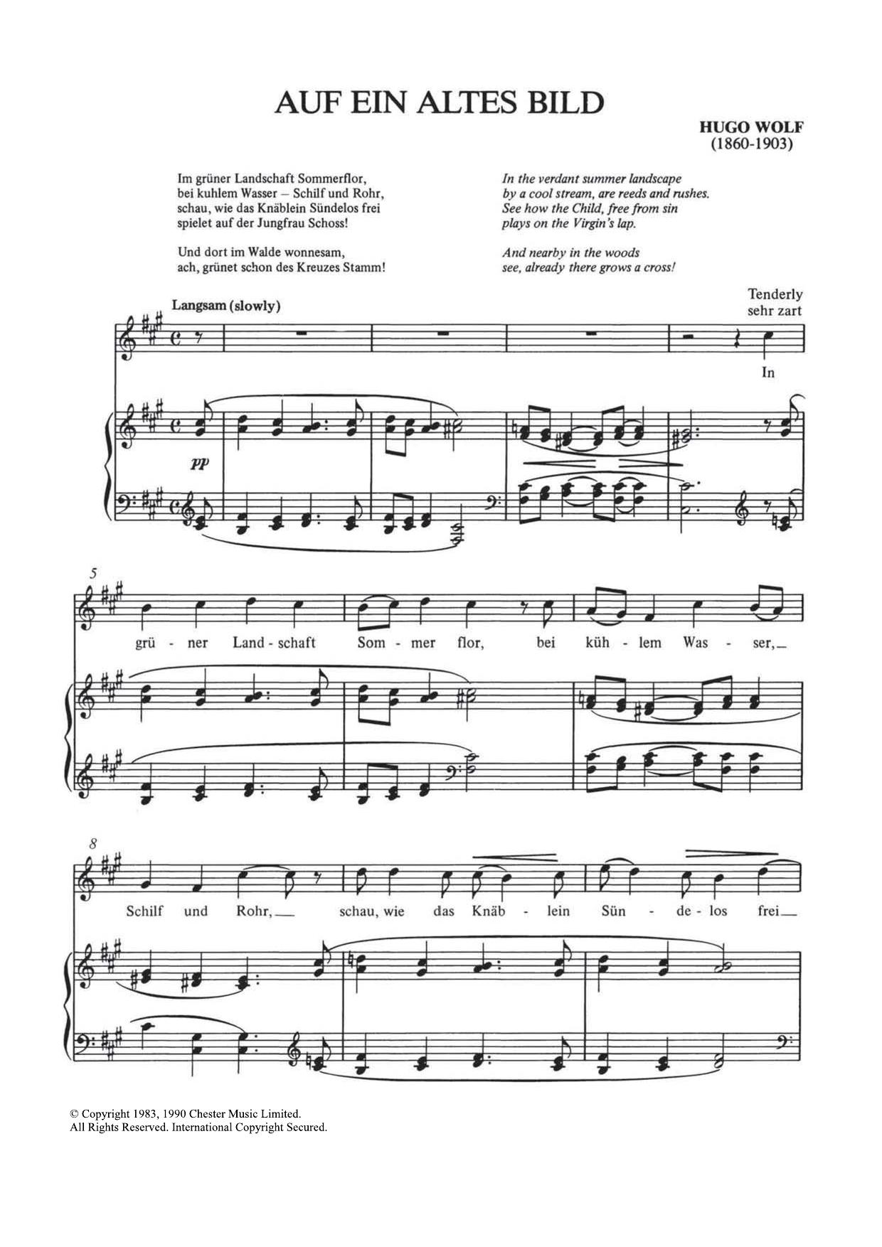 Auf Ein Altes Bild Sheet Music