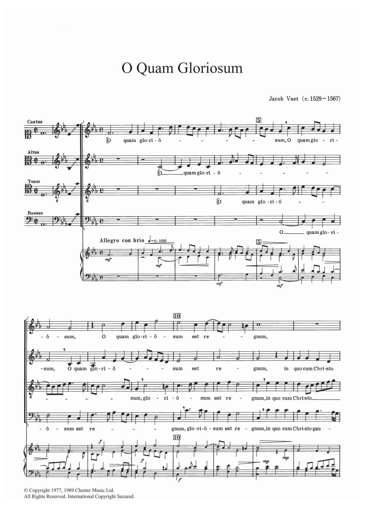 O Quam Gloriosum Sheet Music