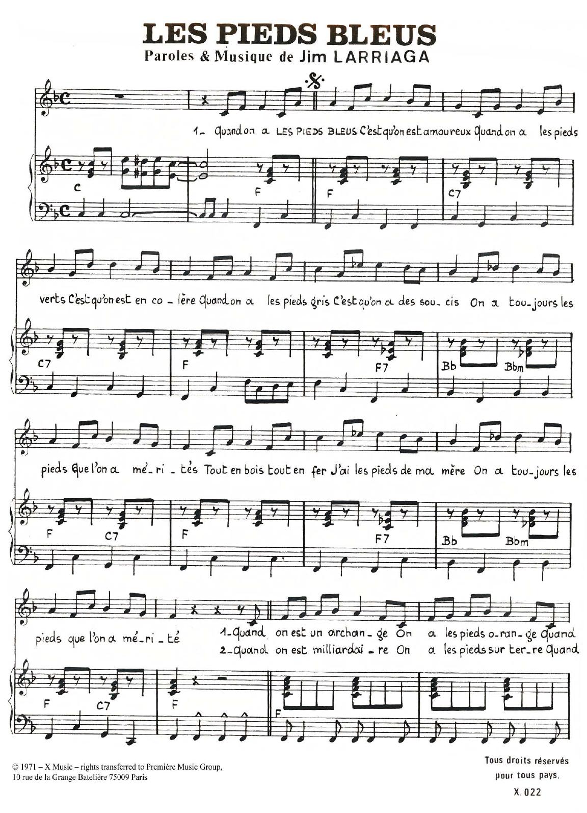 Les Pieds Bleus Sheet Music