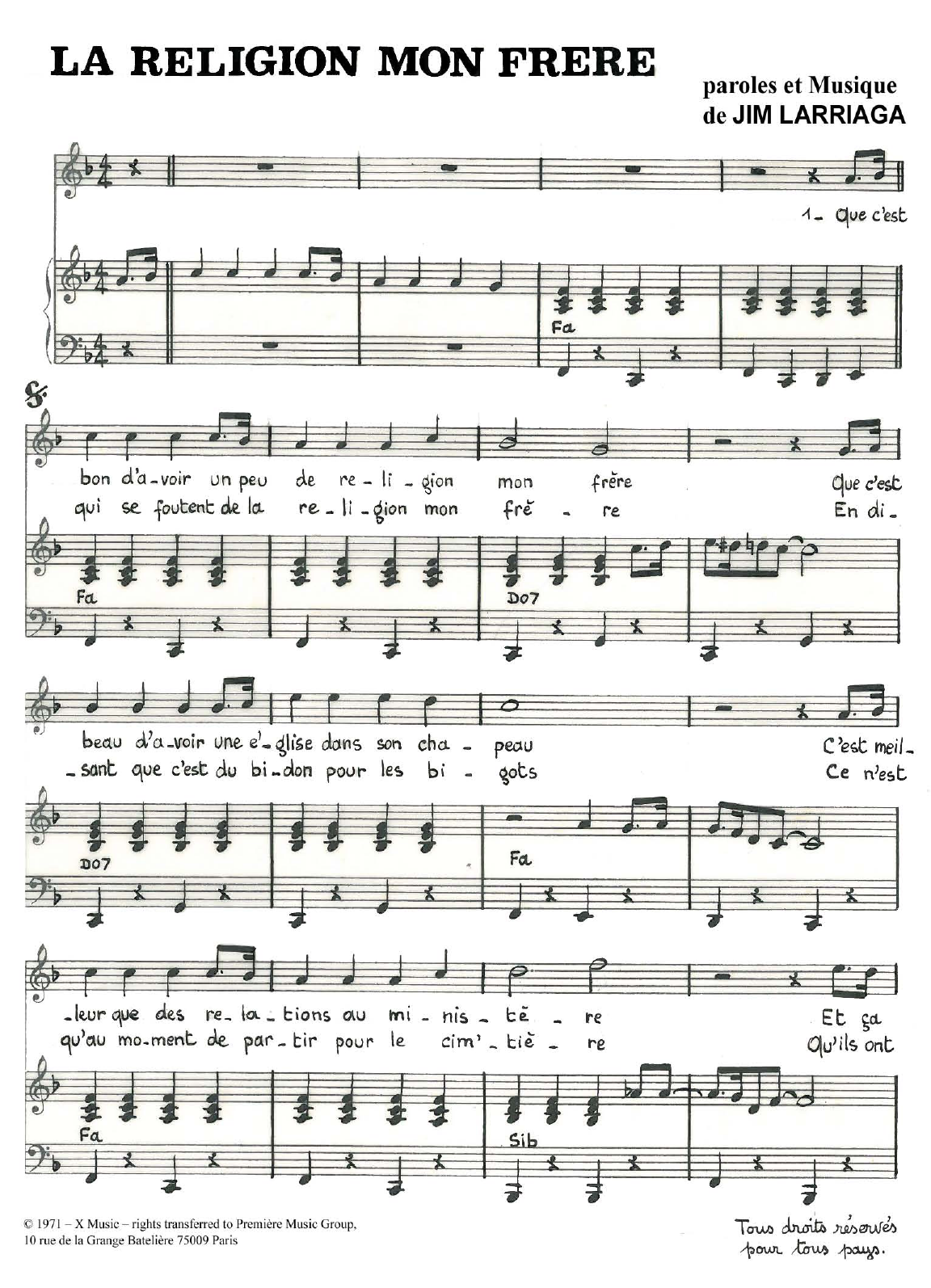 La Religion Mon Frere Sheet Music