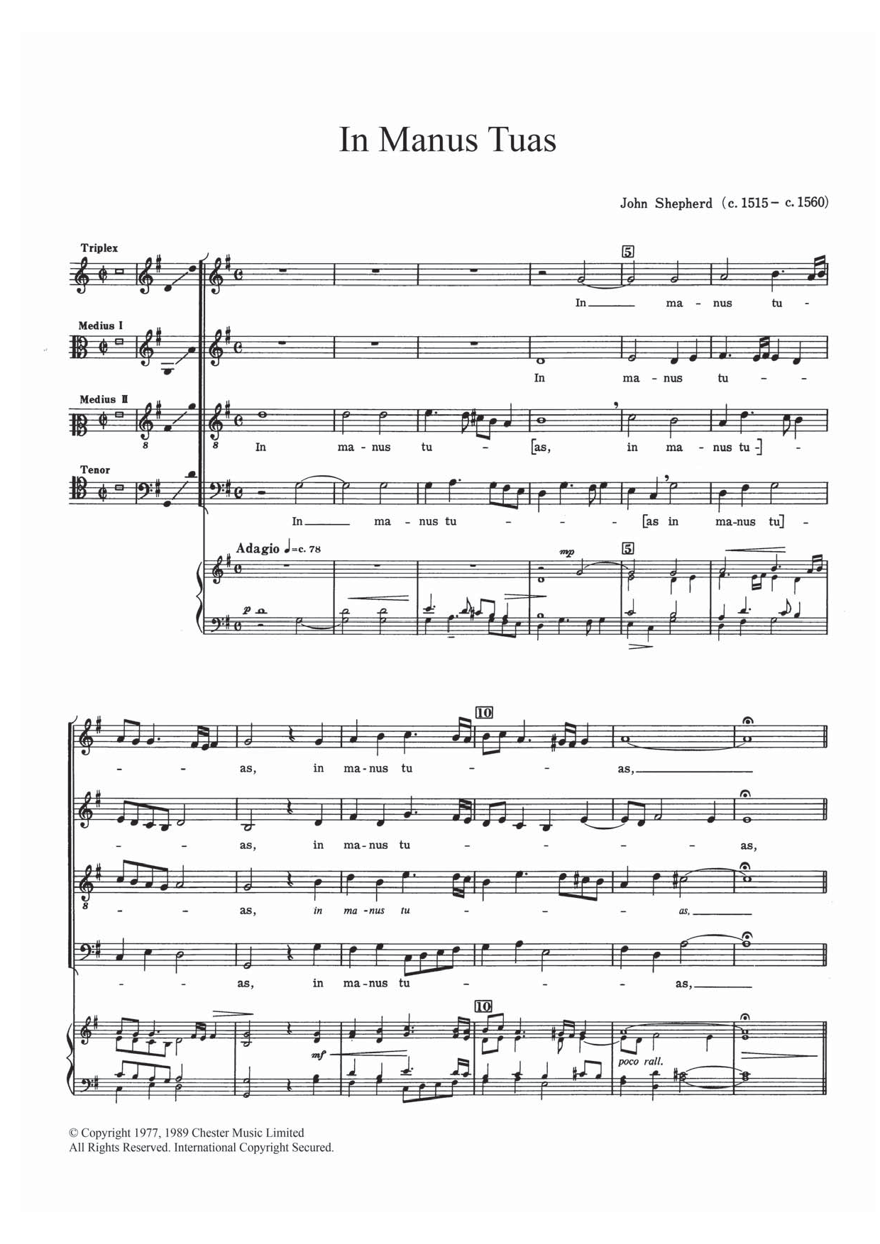 In Manus Tuas Sheet Music