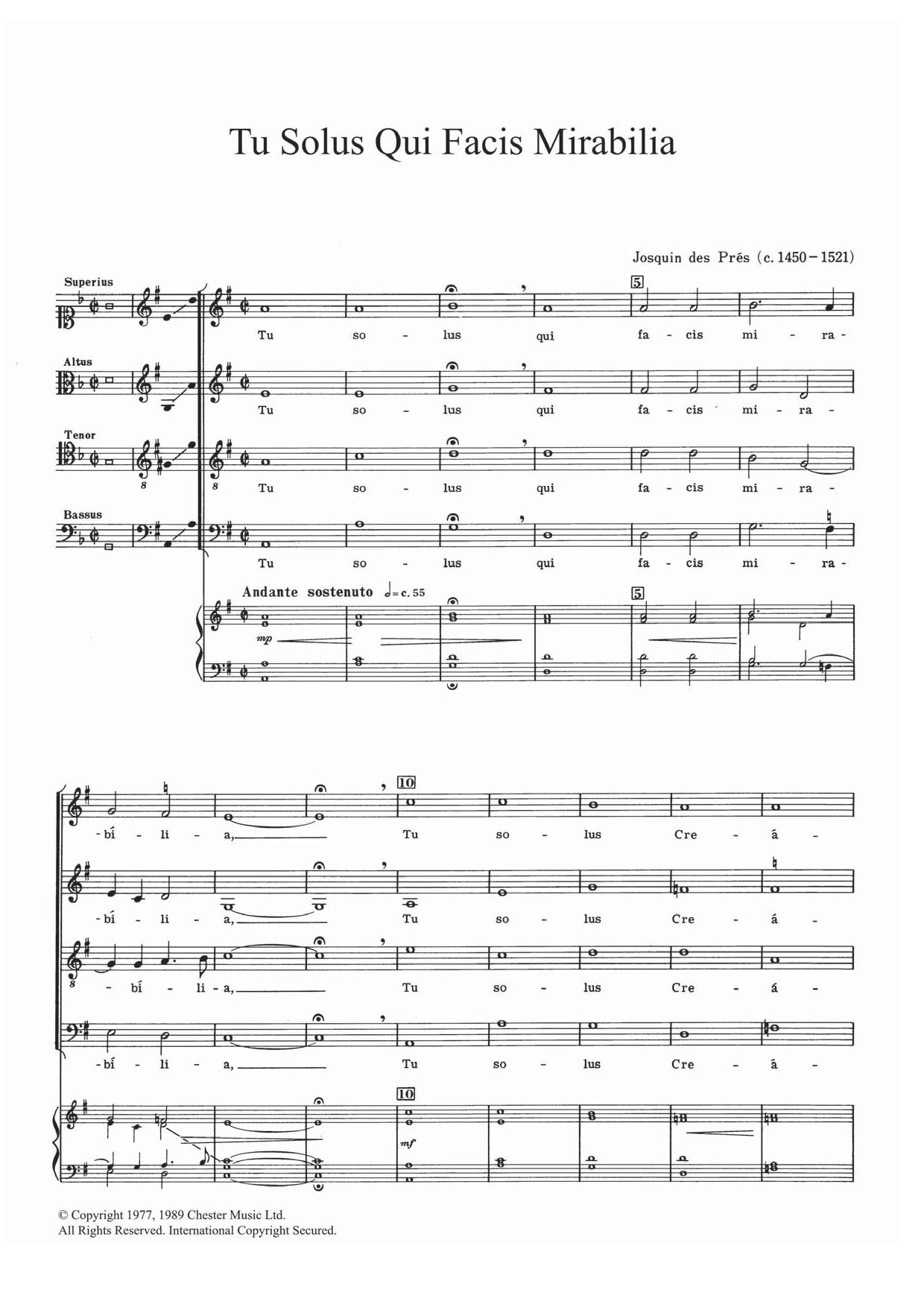 Tu Solis Qui Facis Mirabilia Sheet Music
