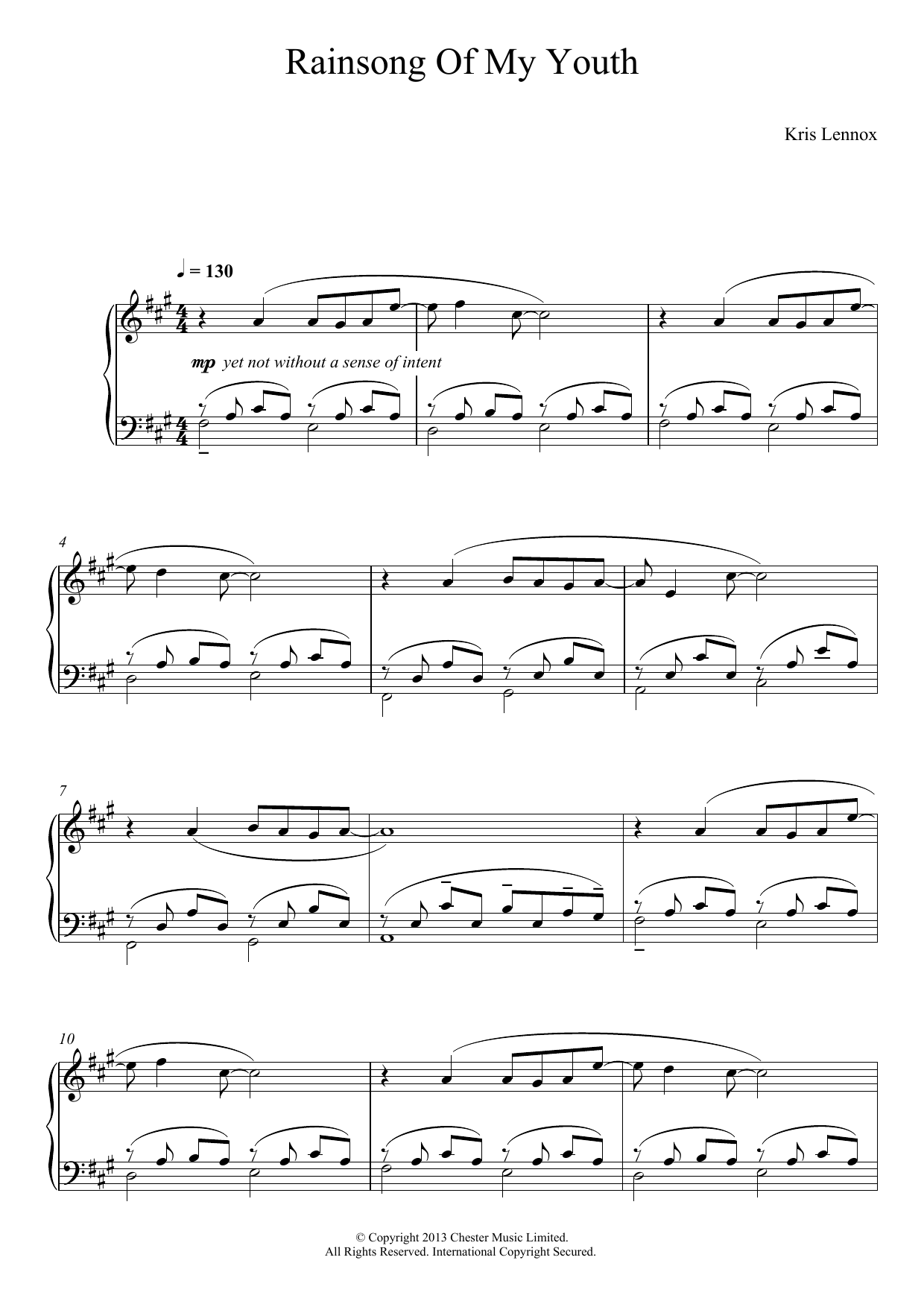 Rainsong Of My Youth Sheet Music